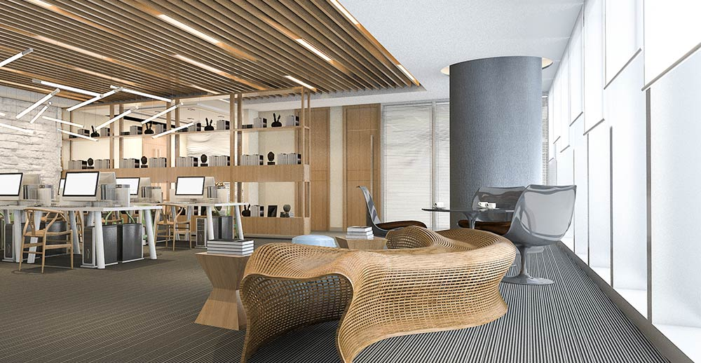 Informal meeting and lounge area in modern open-space office environment